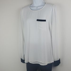 Lost April sheer off white and black blouse shirt